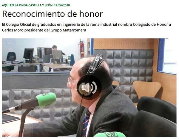 ONDACERO RADIO Carlos Moro Reconocimiento de honor ingenierosVA
