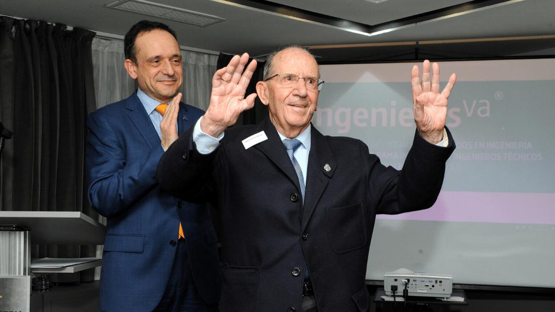 Horacio Sevillano, colegiado mas antiguo en la Noche de ingenierosVA